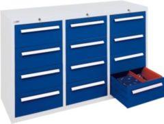 Stumpf Metall Stumpf® ST 420 plus Schubladenschrank mit 12 Schubladen, lichtgrau / blau - 90 x 149 x 50 cm