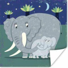 PosterMonkey Een illustratie van een grote olifant met een baby olifant poster 30x30 cm - Foto print op Poster (wanddecoratie woonkamer / slaapkamer) / Wilde dieren Poster
