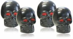 Universeel Foliatec AirCaps ventieldoppenset Skull zwart rode ogen