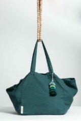 TALES OF TOILE Duurzaam linnen shopper met handgemaakte tassel/ Minimalistische linnen draagtas met handvatten en zakje/grote sterke boho boodschappentas van linnen Basil groene kleur/ duurzame moederdagcadeaus