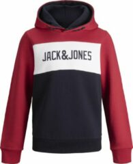 Rode JACK & JONES JUNIOR JACK&JONES JUNIOR JJELOGO BLOCKING SWEAT HOOD NOOS JR Jongens Trui - Maat 128