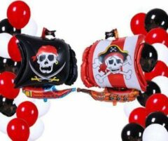 Rode Happy Happenings Piratendecoratie - 23 Stuks - Piraten ballon - Piraten Feestartikelen