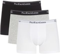 Grijze Polo Ralph Lauren Men's 3 Pack Boxer Shorts - White/Heather/Black - XL - White/Grey/Black