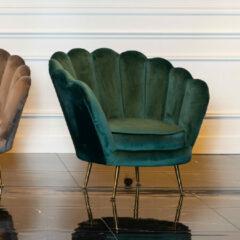 Richmond Interiors Richmond Fauteuil 'Perla' Velvet, kleur Groen