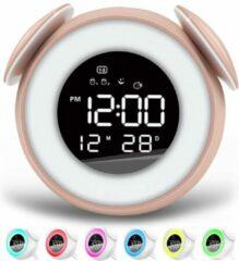 FettleLife Retro Digitale Wekker met Wake Up Light - Wekker voor in de Slaapkamer - Wekker Met Alarm en LED lamp (Roze)
