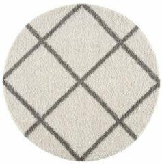 Creme witte Impression Shaggy Madrid Rond Design Vloerkleed Creme Hoogpolig - 150 CM ROND