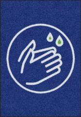 Blauwe MatStyles Vloerkleed Tapijt Message Mat - Was uw Handen - 85x60 - COVID-19 - Wasbaar