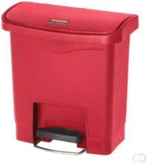 Rode Slim Jim Step On container Front Step Rubbermaid kunststof 15 ltr, rood