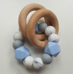 RiFresh   bijtring blauw met marmere siliconen kralen   babyshower