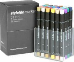 Lichtblauwe Stylefile Markers Stylefile Twin Marker 24 Main B Set - Hoge kwaliteit stiften, ideaal voor designers, architecten, graffiti artiesten, cartoonisten, & ontwerp studenten