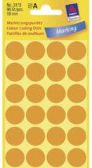 Avery-Zweckform 3173 Etiketten à 18 mm Papier Helder-oranje 96 stuks Permanent Etiketten voor markeringspunten