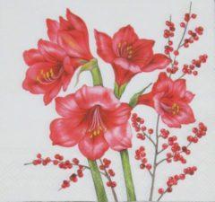 Rode Ambiente Servetten Amaryllis 33 x 33 cm