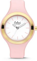 Colori Watches Colori Macaron 5 COL432 Horloge - Siliconen Band - Ø 42 mm - Roze / Goudkleurig