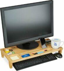 Bruine Relaxdays Monitorstandaard - bamboe - monitorverhoger - beeldschermverhoger - opbergruimte