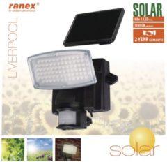 Zwarte Smartwares RANEX LIVERPOOL LED SOLAR WANDSTRALER MET BEWEGINGS MELDER LIVERPOOL 5000.346