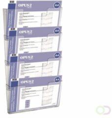 Transparante Opus2 Wandfolderbakje OPUS 2 4xA4 liggend koppelbaar