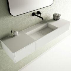 Ideavit SolidBliss Wastafel 140x40x20cm 0 kraangaten Solid surface mat wit Solidbliss-140DR