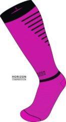 Roze Horizon Sport compressie kousen cerise/zwart Large (43-46) Kuit:43-53cm