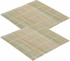 Beige Merkloos / Sans marque 2x Sushi oprol matten bamboe hout 24 cm - Keuken/kookbenodigdheden - Sushi maken benodigdheden - Sushimatjes - Sushi oprolmatten