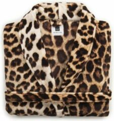 Bruine Zo! Home ZoHome Leopard Badjas Lang - Fleece - Maat M - Brown