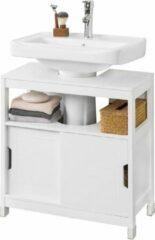 Witte Simpletrade Badkamerkast - Wastafel onderkast - Modern - 60 x 30 x 61 cm. Oogje 18,5 x 22 cm.