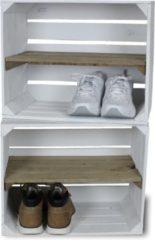 Steigerhoutpassie Fruitkist - Nieuw -Wit - Set van 2 - Legplank Bruin Lang - 50x30x40cm