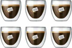 Transparante Bodum Theeglazen - Dubbelwandige Koffieglazen - 80 ml - 6 stuks - Carte Noire