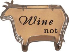 Bruine Clayre & Eef Clayre & Eef - wijnkurk houder 29*9*20 cm - chocola - hout/ metaal - rechthoekig - koe - 64294
