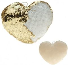 Goudkleurige Merkloos / Sans marque Hartjes kussen goud/creme metallic met pailletten 40 cm
