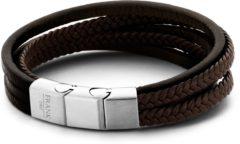 Donkerbruine Frank 1967 7FB-0193 - Heren armband met staal element - gevlochten leer - multilayer - lengte 21 cm - donker bruin