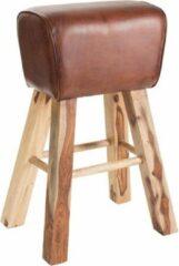 Duverger® Gym - Barkruk - leder zit - bruin - mango houten poten