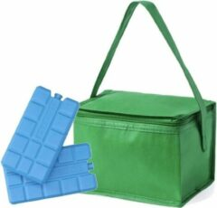 Merkloos / Sans marque Kleine mini koeltas groen voor 6 blikjes inclusief 2 koelelementen - Compacte koelboxen/koeltassen en elementen