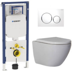 Douche Concurrent Geberit UP720 Toiletset - Inbouw WC Hangtoilet Wandcloset Rimfree - Shorty Sigma-20 Wit