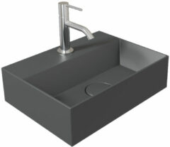 Antraciet-grijze Fontein Salenzi Spy 40x30 cm Mat Antraciet (inclusief bijpassende waste)