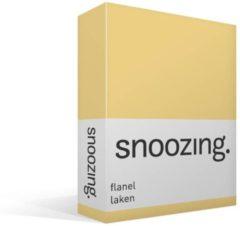 Snoozing flanel laken - 100% geruwde flanel-katoen - Lits-jumeaux (280x300 cm) - Geel