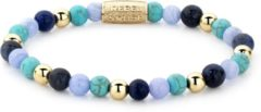 Blauwe Rebel & Rose Rebel and Rose Mixed Balls Winter Blues 6mm Armband RR-60043-G-S (Lengte: 16.50-18.00 cm)
