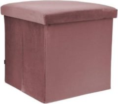 Rox Living Opbergbox/poef 38 Cm 55 Liter Fluweel Rood