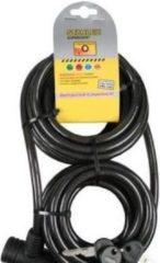 Zwarte Stahlex Staalkabel Extra Lang 8 meter x 10mm | Geplastificeerd Spiraalvormig Kabelslot | Goed voor bv Horeca