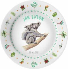 Roze Mies To Go Kinderbordje met naam - koala Australisch - BPA vrij kunststof - pasgeboren baby - kraamcadeau - dieren in aquarel - geschilderd door Mies