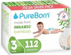 PureBorn luiers - Maat 3 (5.5-8kg) - 112 stuks | Grapefruit