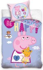 Peppa Pig éénpersoons dekbedovertrek HAPPY - 140 x 200 cm + 1 sloop 70 x 80 cm