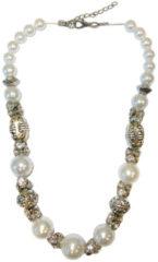Boodz Zilveren/Witte Korte Ketting met Parels en Strass