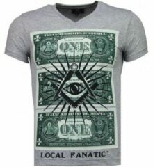 Local Fanatic One Dollar Eye - T-shirt - Grijs One Dollar Eye - T-shirt - Wit Heren T-shirt Maat XL