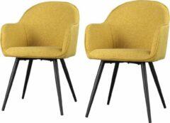 Maison Woonstore Maison´s stoel – Stoel – Stoelen – Eetkamerstoel – Eetkamerstoelen – Kuipstoel – Kuipstoelen – Geel – Zwart – Eetkamerstoel met armleuning – Eetkamerstoelen set van 2