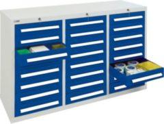 Stumpf Metall Stumpf® ST 420 plus Schubladenschrank mit 24 Schubladen, lichtgrau / blau - 90 x 149 x 50 cm
