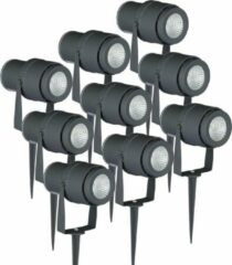 INTOLED Set van 9 LED aluminium prikspots 12 Watt 3000K IP65 Grijs
