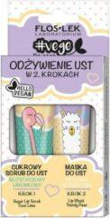 Floslek Vege Lip Care set lip voeding in 2 stappen suikerscrub gratis limoen + stijlvolle peer lipmasker 2x14g