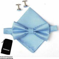 Vlinderstrik inclusief pochette en manchetknopen - Lichtblauw - kleine ruit - Sorprese - luxe - vlinderdas - strik - strikje - pochet - heren