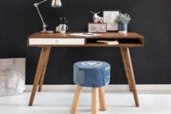 Wohnling Schreibtisch REPA weiß 120 x 60 x 75 cm Massiv Holz Laptoptisch Sheesham Natur Landhaus-Stil Arbeitstisch mit 1 Schublade Bürotisch PC-Tisc