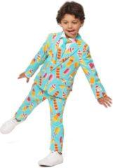 Blauwe OppoSuits Officiële Jongens Pakken van Hoge Kwaliteit - Cool Cones - Kostuum bevat Pantalon, Jasje en Stropdas! Maat 98/104